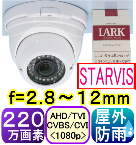 【SA-51604】220万画素 屋外防雨仕様AHD-H(1080p)ドーム型防犯カメラ